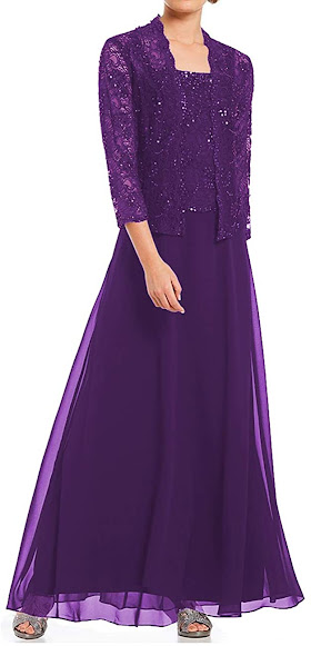 Long Purple Mother of The Groom Dresses