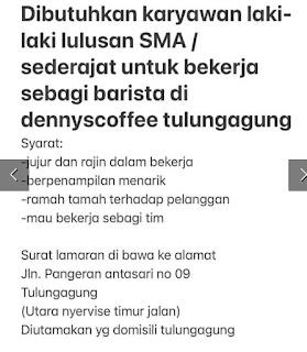 Lowongan Kerja Barista di Denny Coffee Tulungagung November 2020