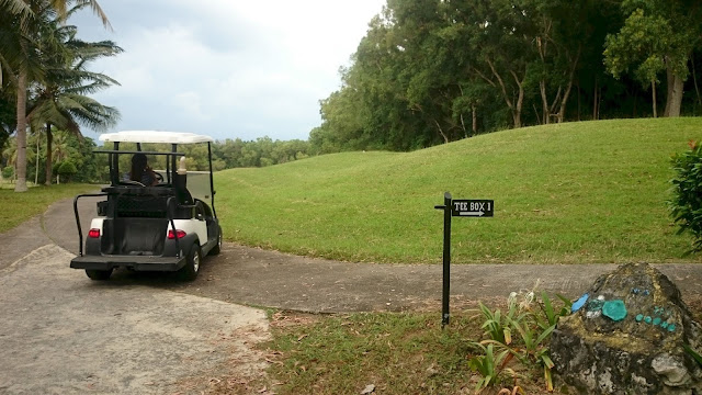 Tee Box 1 Direction Sign after getting in the greenery Golf Court- Image: Author