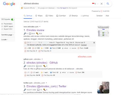 hasil pencarian allintex elinotes di google search