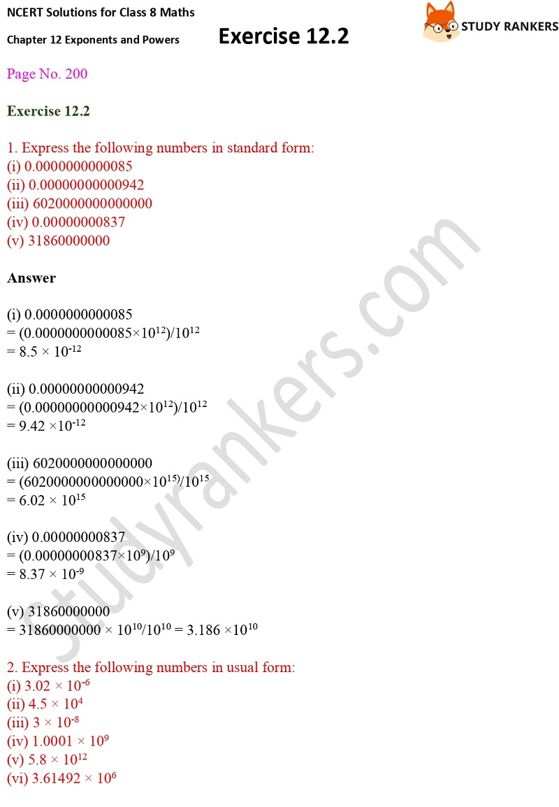 NCERT Solutions for Class 8 Maths Ch 12 Exponents and Powers Exercise 12.2 1
