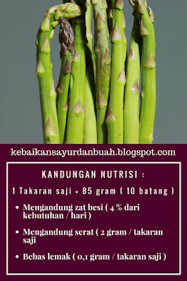 kandungan nutrisi asparagus dan fakta tentang asparagus