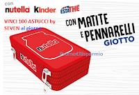Logo Ferrero con Nutella, Kinder, Estathé ''Vinci 100 astucci Nutella by Seven al giorno'' con matite e pennarelli Giotto