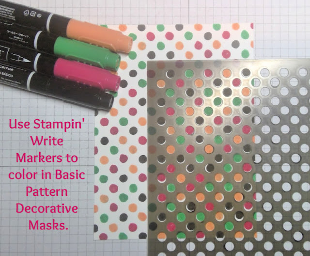 Use Stampin' Write markers to color in Basic Pattern Decorative Masks - technique by Nicole Steele The Joyful Stamper
