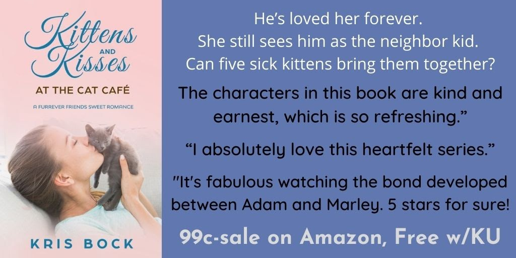A Cat Café #SweetRomance on sale - 99 cents! Can a box of week-old kittens make them a family? #ContemporaryRomance #Romance