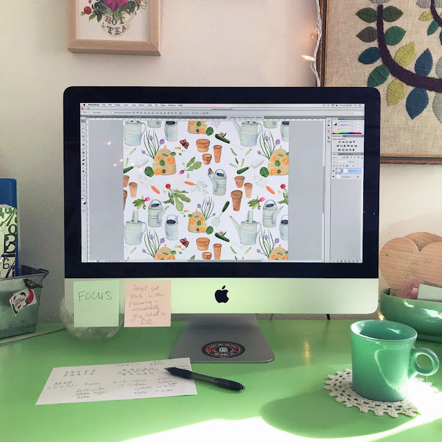 pattern design, photoshop, design process, repeat patterns, surface pattern design, gardening, Anne Butera, My Giant Strawberry