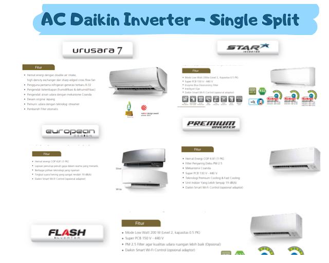 berbagai tipe ac daikin inverter single split