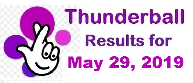 Thunderball results for Wednesday, May 29, 2019