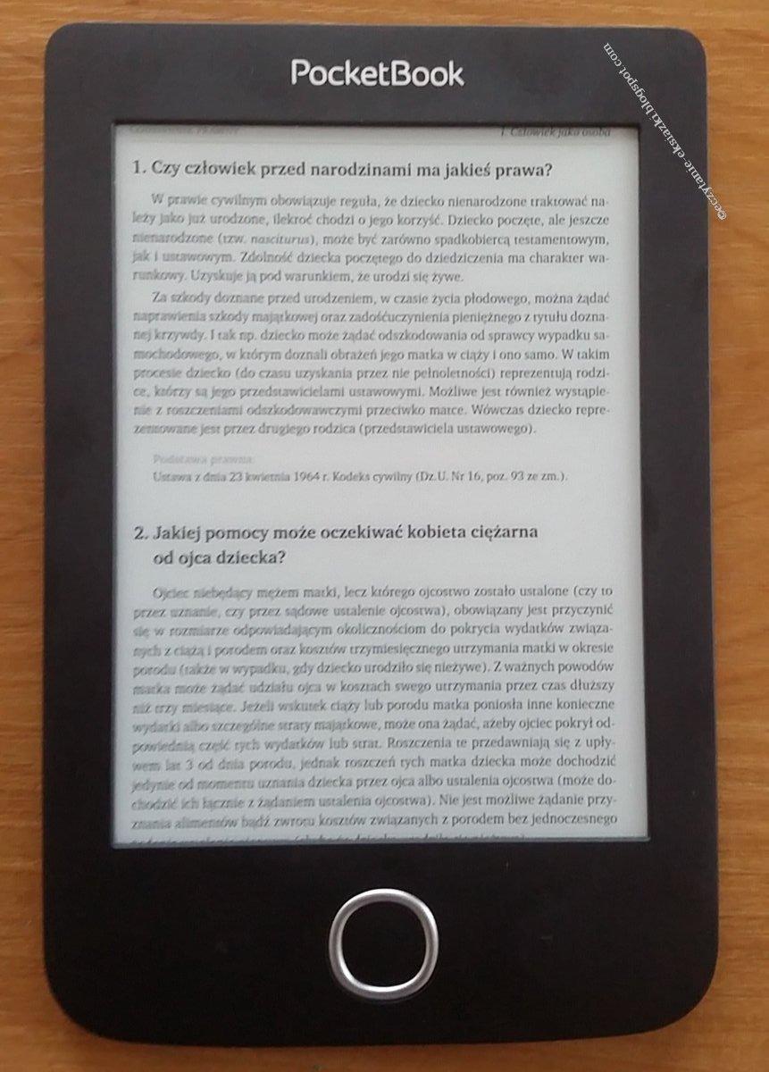 Widok pliku PDF w trybie dopasowania do szerokości na czytniku PocketBook Basic 3