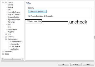 uncheck delay load VBA