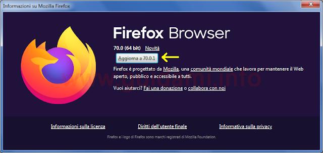 Finestra Informazioni su Firefox per controllare aggiornamenti versione