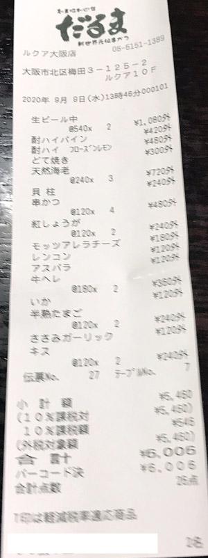 だるま ルクア大阪店 2020/9/9 飲食のレシート