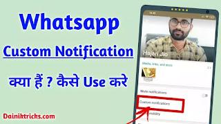 What is Whatsapp Custom Notification Full Information in Hindi