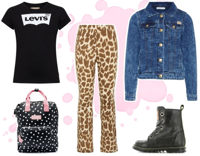 Meisjes outfit met panterprint legging en Levi's shirt name it mode inspiratie hippe modieuze kinderkleding merken