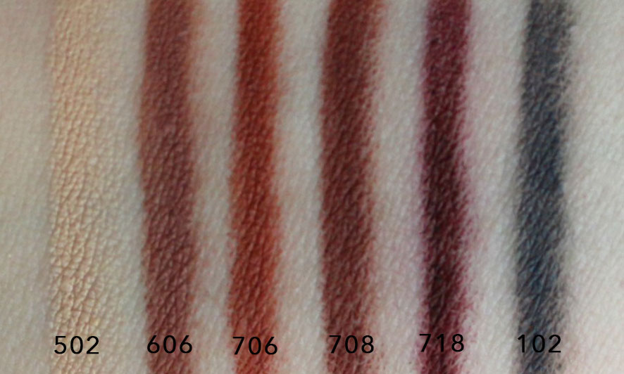 Make Up For Ever Artist Color Pencil 502 606 706 708 718 102 Swatches