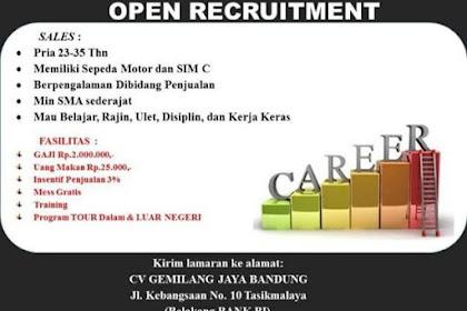 Lowongan Kerja Sales CV Gemilang Jaya Bandung Tasikmalaya