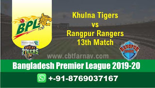Khulna vs Rangpur 13th Match BPL T20 Today Match Prediction Reports
