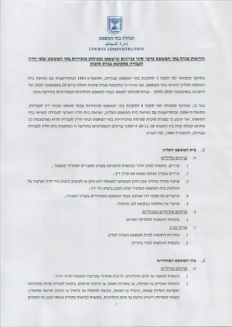 הוראת מנהל בתי המשפט בדבר עניינים שידונו בבתי המשפט בפגרת סוכות מיום 24.09.2020.