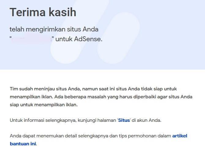 Gambar email penolakan adsense untuk blog