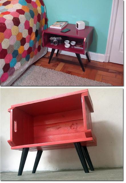 mesa de cabeceira de caixote de feira