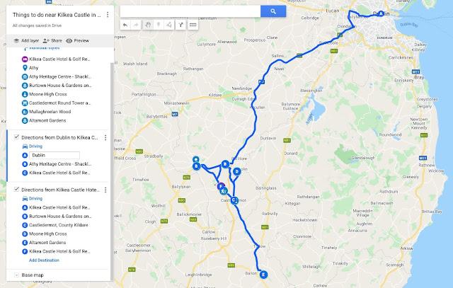 Map of things to do near Kilkea Castle in South Kildare Ireland