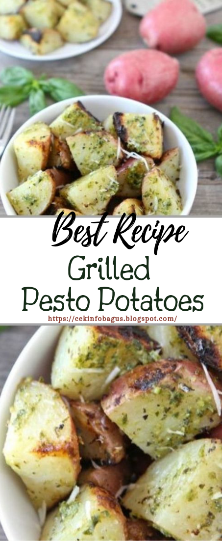 Grilled Pesto Potatoes #vegan #recipevegetarian