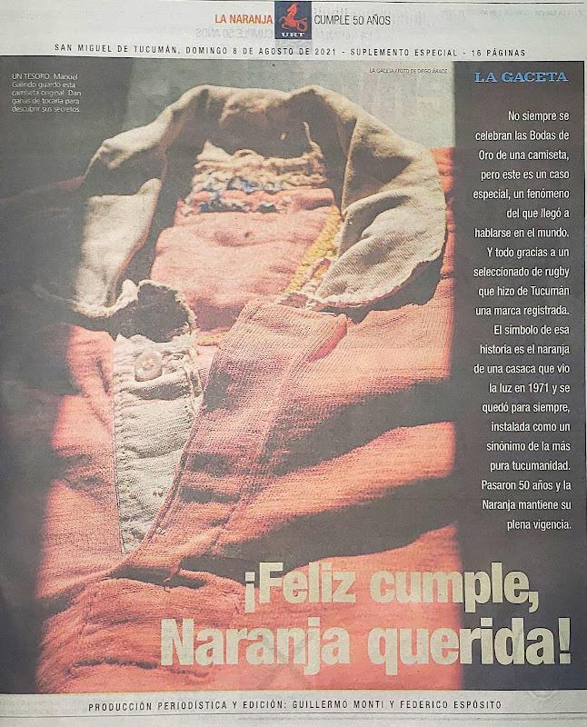 ¡Feliz Cumple, Naranja Querida! camiseta del seleccioando de la Unión de Rugby de Tucumán