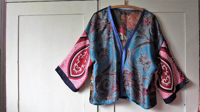 satin bound edges vintage scarf kimono jacket by karen vallerius