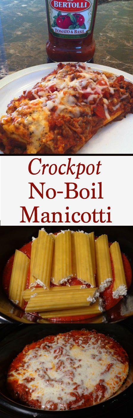 Easy Crockpot Manicotti | No Boil Recipe