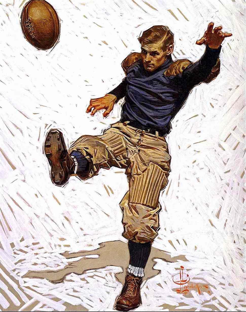 a Joseph Christian Leyendecker illustration of a vintage USA football kicker