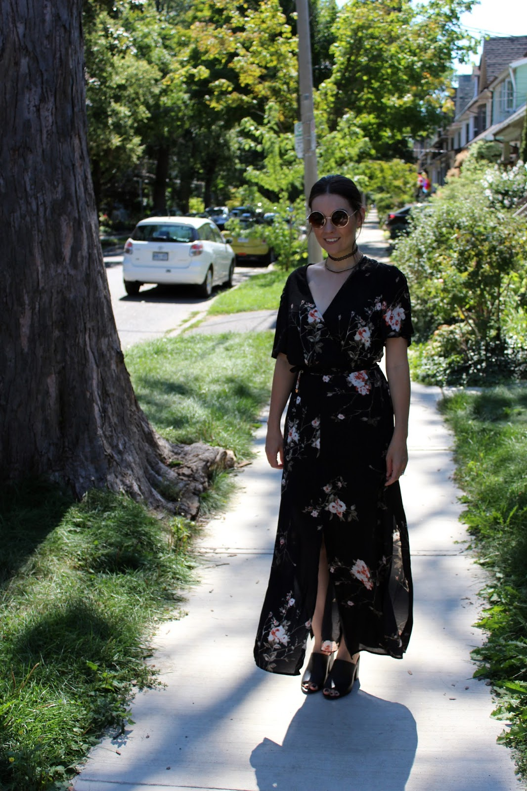 Black Floral Maxi Dress, Choker necklace, Mule Wedges
