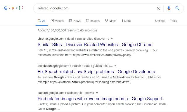 Google search relating to google.com