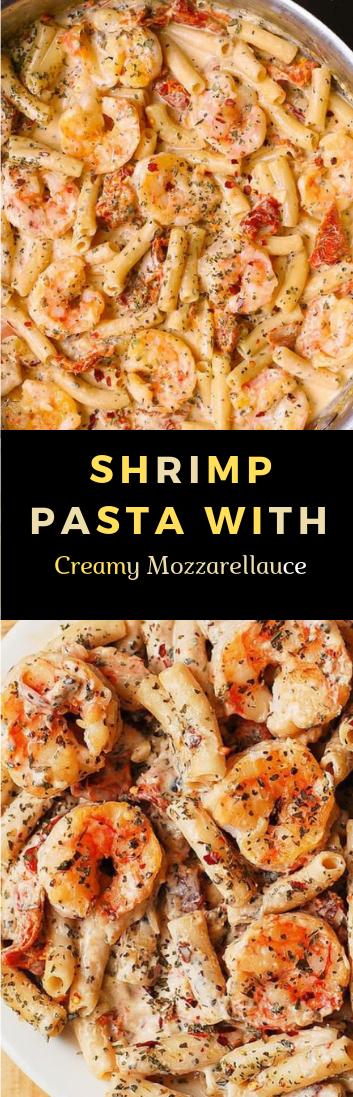 SHRIMP PASTA WITH CREAMY MOZZARELLA SAUCE #mozzarella #food