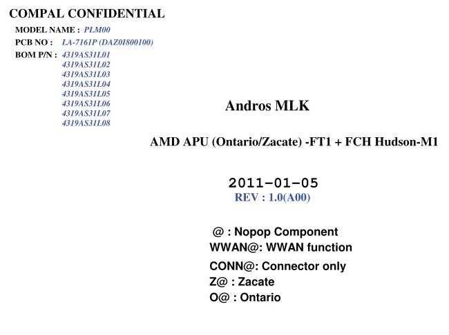 LA-7161P Rev 1.0 Schematic Dell Inspiron M102Z (Compal )