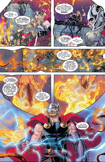 Thor is worthy and picks up Mjolnir again in War of the Realms Issue #6.