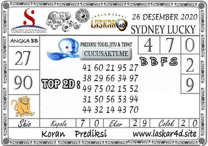 Prediksi Sydney Lucky Today LASKAR4D 26 DESEMBER 2020