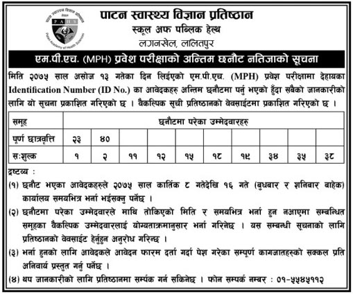 MPH Entrance Exam Result Selected
