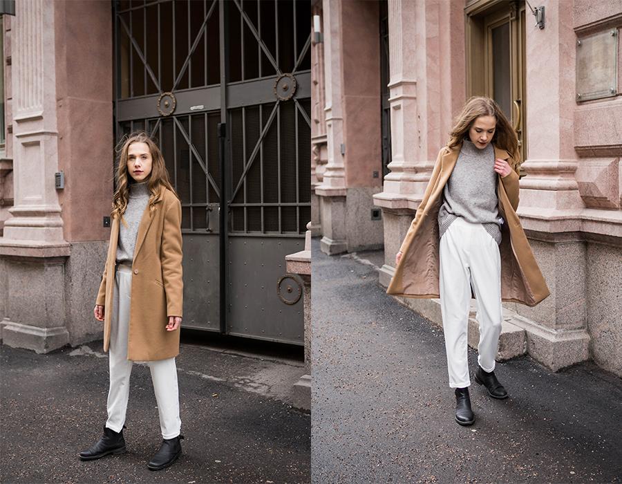 Asuinspiraatio: kamelitakki, harmaa neule ja valkoiset housut // Outfit inspiration: camel coat, grey knit and white trousers