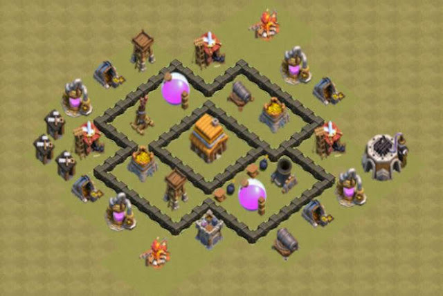 Base COC TH4 War 2