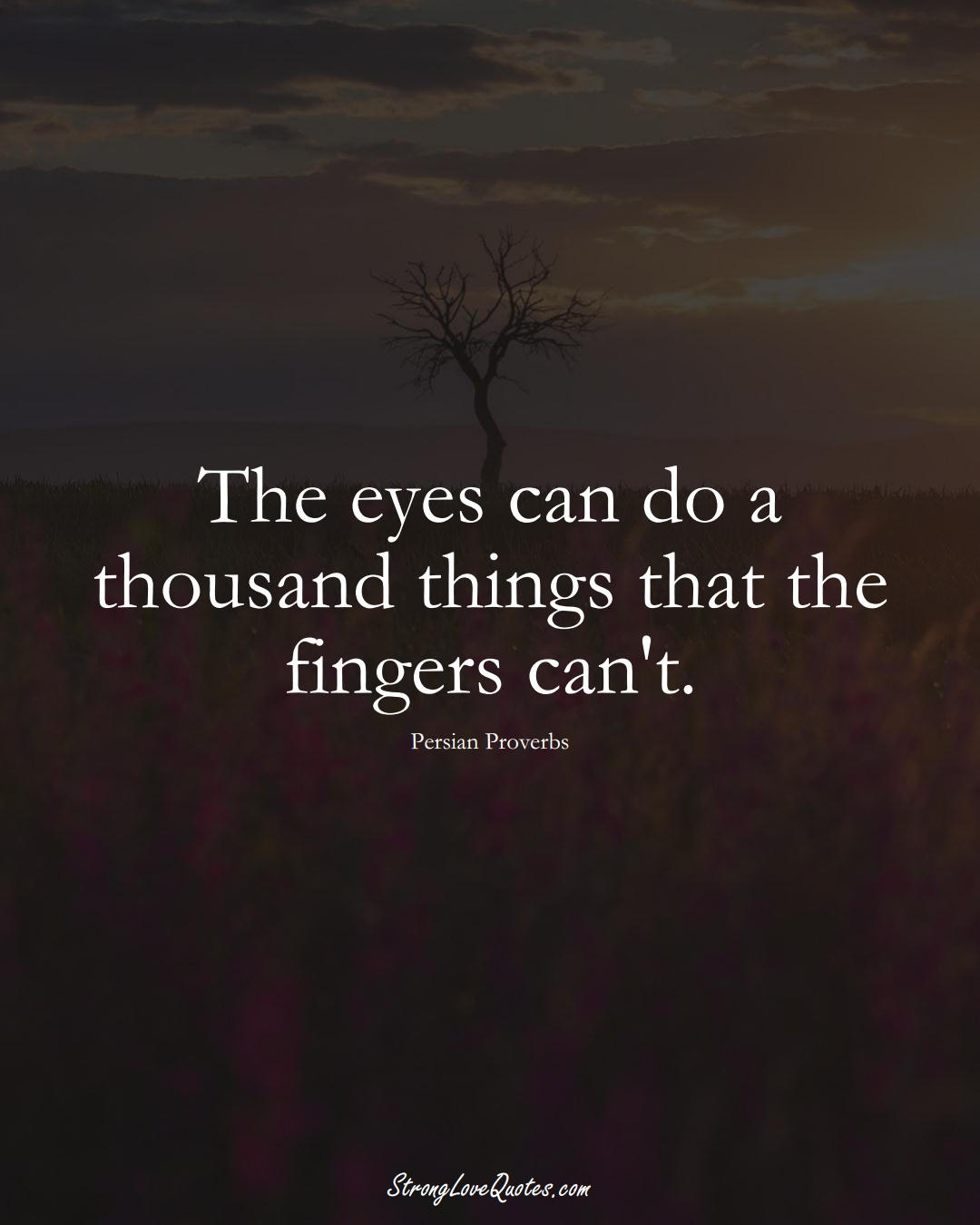 The eyes can do a thousand things that the fingers can't. (Persian Sayings);  #aVarietyofCulturesSayings
