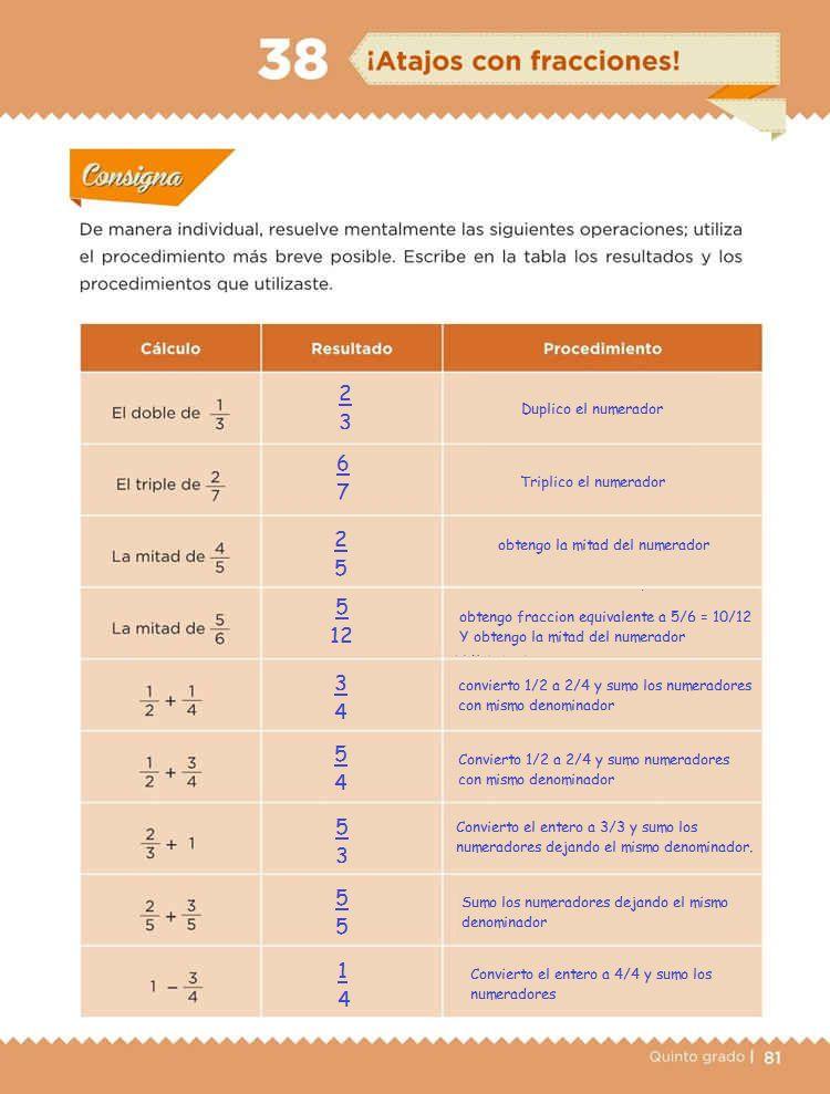 ¡Atajos con fracciones!Desafíos MatemáticosQuinto gradoContestado