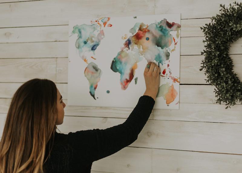 balayage, map of the world, wall photos