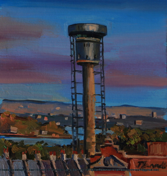 plein air oil painting of the Harbour Control Tower, Millers Point near Barangaroo by industrial & maritime heritage artist Jane Bennett