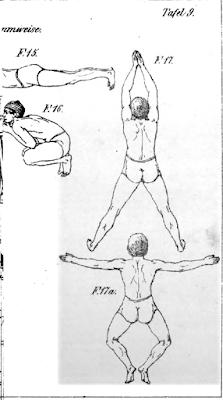 Vier - zwei ganz, zwei angeschnitten, Zeichnungen von Männern beim Brustschwimmen. Blick von oben.