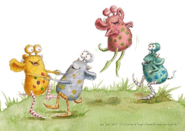 Pumpf, Loni lacht!, Kommoss, Glücksbuch, Kinderbuch, Kinderbuchillustration, Glückspumpf,Depression, Unglück, Trauer, Liebe, monster, fabelwesen, aquarell, pumf