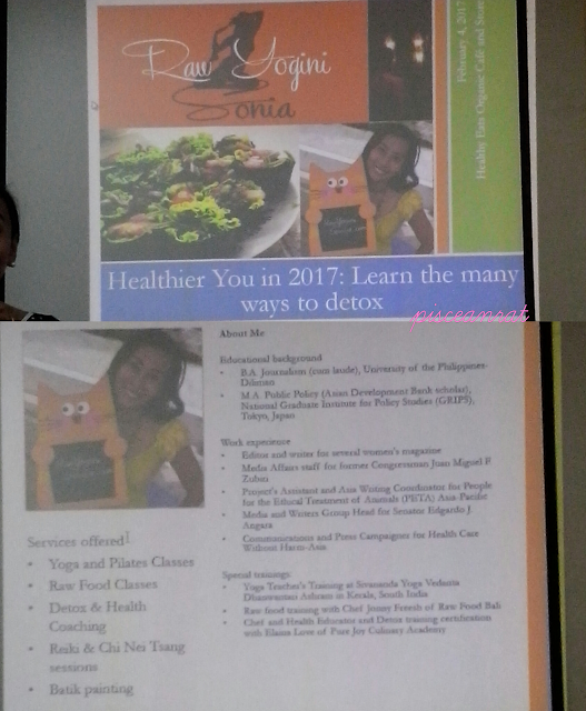Aside from holding classes / workshops on raw food preparation, the speaker also offers yoga and pilates.