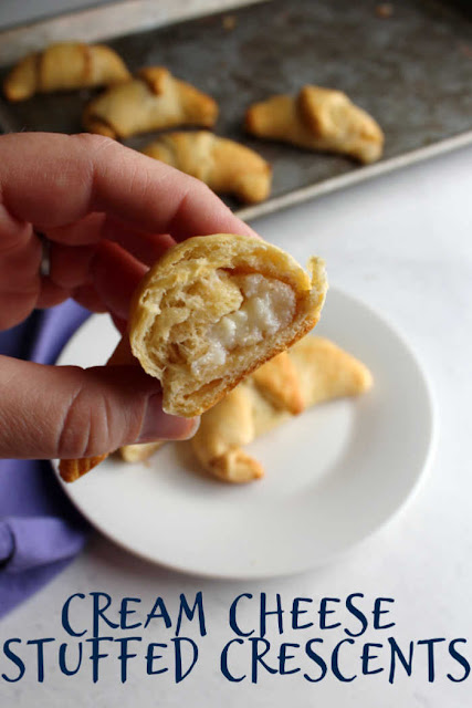 Crescent rolls stuffed with lightly sweetened cream cheese are a perfect treat. They are great for breakfast with a cup of coffee. The best part is they are super easy to put together.  You can be enjoying a flaky pastry in almost no time.