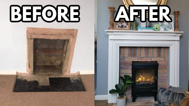 DIY fireplace makeover before after