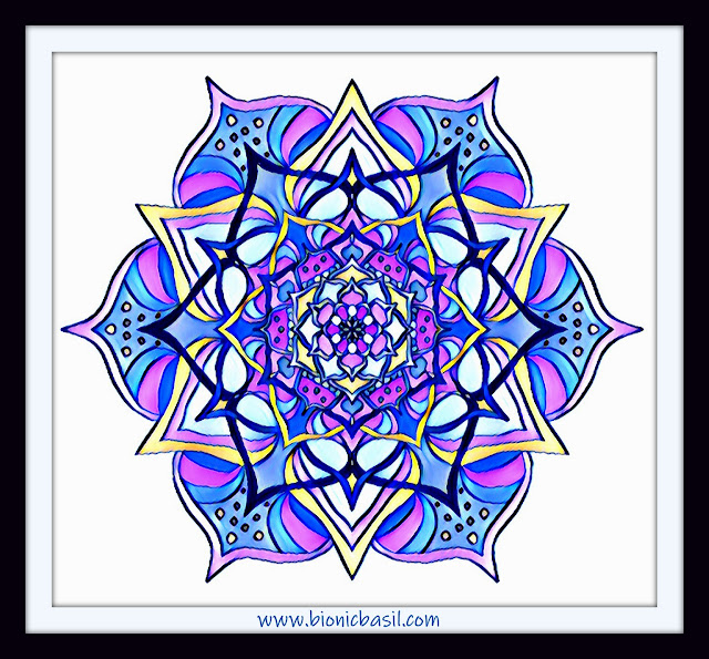 Mandalas on Monday ©BionicBasil® Colouring With Cats Mandala #101 coloured by Cathrine Garnell