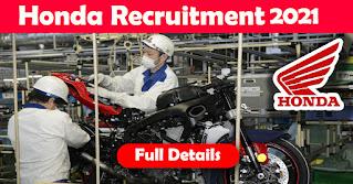 12th Pass Jobs Vacancy in Honda Motorcycle Ltd Plant Gujarat For Rajasthan, Punjab, U.P, M.P, Bihar, Jharkhand Candidates, Salary -12,000/- PM